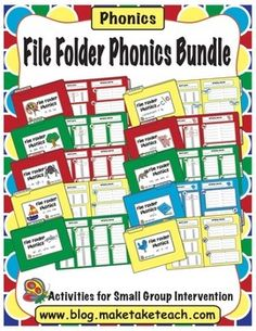 10 phonics-based file folder activities!  Great hands-on activities for teaching phonics concepts.  Word sorts, writing words and sentences.