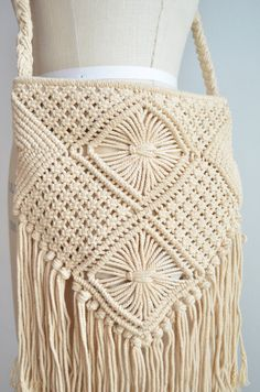 Vintage macrame bag with long fringe by storyofthings on Etsy