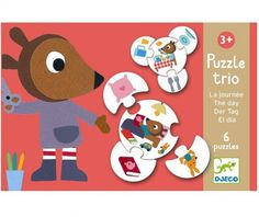 Erstes Trio Lernpuzzle rund Der Tag von Djeco für Kinder ab 3 Jahren