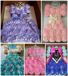 DIY Princess Pull Apart Cupcake Cake-20 Gorgeous Pull Apart Cupcake Cake Designs For Any Party