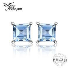 Pure Natural Sky Blue Topaz 925 Solid Sterling Silver Fashion Women Dazzling Princess Cut Earrings Stud 2015 New Free Shipping