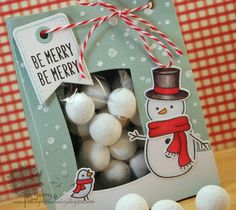 Lawn Fawn - Making Frosty Friends, Peace Joy Love, Tag, You're It, Winter Gifts _ Such a fun gift bag design by Jenny! _ Snowball sweetie bag   Flickr - Photo Sharing!
