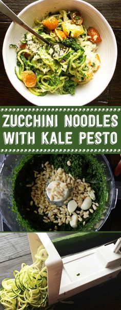 My new fave for meatless Mondays. Super easy zucchini noodles with kale pesto. Loads of flavor and healthy! Veggie Noodles, Zucchini Noodles, Zucchini Salad, Vegetarian Recipes, Cooking Recipes, Healthy Recipes, Freezer Recipes, Freezer Cooking, Drink Recipes