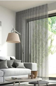 Window Treatment Ideas - Whether you're seeking curtains, tones or something in between, here are outstanding window treatments that are DIY-friendly. Ceiling Curtains, Home Curtains, Curtains Living, Curtains With Blinds, Modern Curtains, Sheer Curtains, Gray Curtains, Decorative Curtains, Mini Blinds