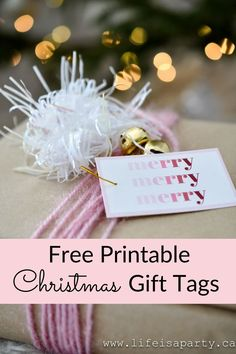 "Free Printable Pink Christmas Gift Tags: these pretty in pink ""merry merry merry"" gift tags are avaiable as a free pdf download."