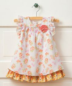 Another great find on #zulily! White Pinwheel Cap-Sleeve Swing Dress - Infant #zulilyfinds