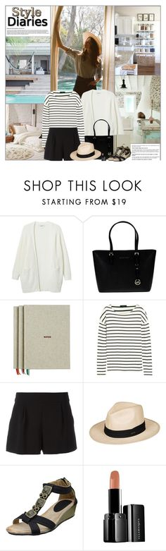 """""""Style Diaries: Spring Afternoon"""" by kittyfantastica ❤ liked on Polyvore featuring Monki, MICHAEL Michael Kors, HAY, J.Crew, Boutique Moschino, Roxy and Illamasqua"""