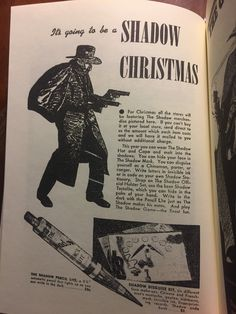 Vintage Shadow Christmas advertisement for costumes, games and pen.
