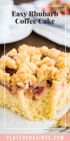 Rhubarb Coffee Cake is topped with cookie-like streusel and every bite is studded with juicy rhubarb! An easy-to-make sheet cake that's not too sweet and not too tangy, just delicious. Easy No Bake Desserts, Easy Baking Recipes, Easy Desserts, Delicious Desserts, Cooking Recipes, Fruit Recipes, Cheesecake Recipes, Sweet Recipes, Dessert Recipes