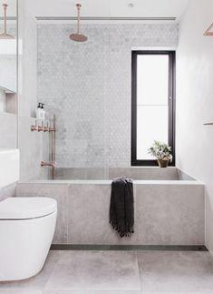 Bathroom Tile Designs, Bathroom Interior Design, Bathroom Taps, Bathroom Grey, Small Bathroom Bathtub, Bathroom Modern, Copper Bathroom, Bathtub Ideas, Master Bathroom