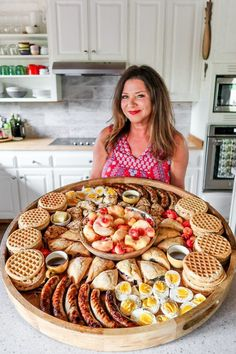 Easy-to-make Epic Summer Waffle Brunch Board perfect for a weekend breakfast. Building a brunch board is easy with waffles seasonal fruit eggs scones and meat! Brunch Recipes, Appetizer Recipes, Breakfast Recipes, Appetizers, Cute Breakfast Ideas, Brunch Ideas, Party Food Platters, Food Trays, Snack Trays