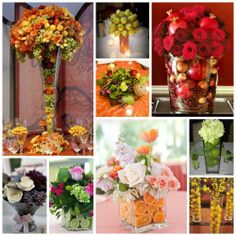 Fruit & Flowers! Beautiful, romantic, and full of fragrance. Use anything from grapes, lemons, limes, pears, cranberry's, avocado's, apples, oranges---you name it for your centerpieces!  www.thismagicmomentweddingsale.com www.facebook.com/thismagicmomentweddingsale