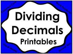 Dividing Decimals Printables