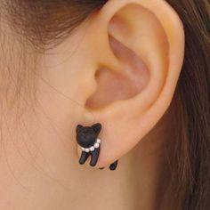 ONE PIECE Faux Pearl Cat Shape Design Earring - BLACK