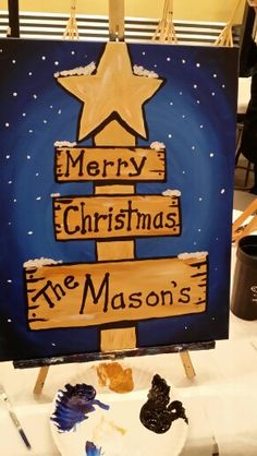 Christmas sign Painting With a Twist