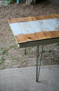 Reclaimed Wood Island Barn Moonwater Table - For kitchen or dining, table of #reclaimed old growth Douglas fir from a working island farm in the north Puget Sound. Mid century modern three-prong hairpin legs. Tabletop is built from 11 #salvaged #barn boards jointed and glued into a single surface. Pale blue paint is original to the boards, like moonlight on water.