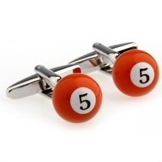 "Festive Orange Snooker Number""5""Cufflinks"