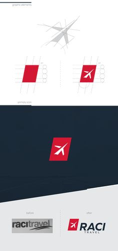 Raci Travel - Rebranding on Behance #branding #rebranding #logo #stationery #identity #travel #airplane #red #white