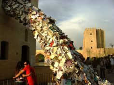Stream of book installations created by Alycia Martin.