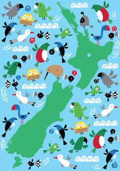 Use this fun and colorful map of new zealand to teach your kids nz map by beck wheeler kissykissykids gumiabroncs Choice Image