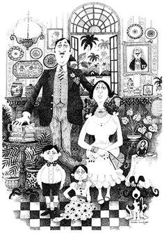 Mario Miranda - Family Portrait (1971) @ Mario Miranda's, Goa Series | StoryLTD