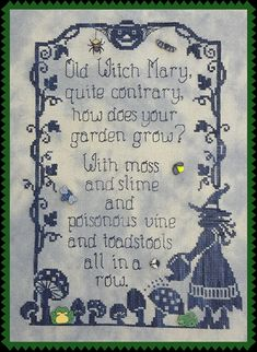Old Witch Mary; Pattern for Counted Cross Stitch; Instant PDF Download; Vintage-Look Witch design for Halloween!