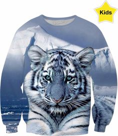 Blue White Tiger Kids Sweatshirt #erikakaisersot #sweatshirt #RageOn #tigers