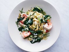 Fettuccine with Shrimp | This two-step shrimp-and-fettuccine recipe gets flavor from creamy mascarpone and lots of scallions. Get the recipe from Food