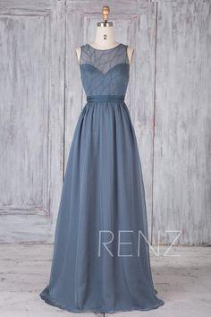 fe674de1779c2 Bridesmaid Dress Dark Steel Blue Chiffon Dress Wedding Dress Illusion Round  Neck Maxi Dress Open Back Party Dress A-Line Beaded Dress(H676)