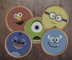 Monters, Minions and Stitch Cartoon Cross Stitch Pattern - Instant PDF Download by StitchLandShop on Etsy https://www.etsy.com/listing/512783342/monters-minions-and-stitch-cartoon-cross