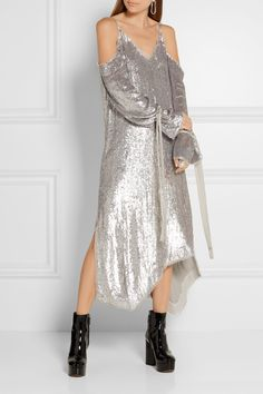 Silver sequined chiffon Slips on polyamide; lining: silk Dry clean Large to size. See Size & Fit notes. As seen in The EDIT magazine Embellished Dress, Sequin Dress, Fashion Silhouette, Magda Butrym, Beautiful Outfits, Editorial Fashion, Cold Shoulder Dress, Lancaster, Top