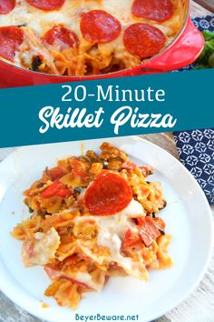 20-Minute Skillet Pizza Casserole is a quick weeknight pasta meal all made in the same pan and filled with all the ingredients you love on your favorite pizza. #Pizza #EasyMeals #Pasta #QuickDinners