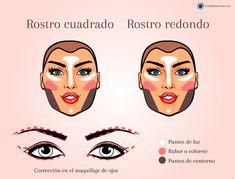 Contorno, luz y color según tipo de rostro #maquillaje #makeup #makeupartist  #makeuptips #contour #contorno #contouring #highlights Makeup, Tips, Movie Posters, Beauty, Contouring, Rouge, Blush, Professional Makeup, Makeup Eyes