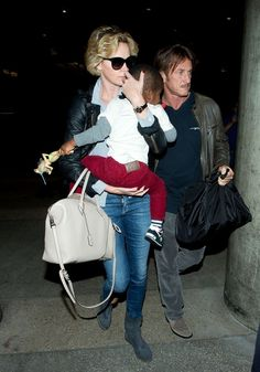 Charlize Theron and Sean Penn seen at LAX .