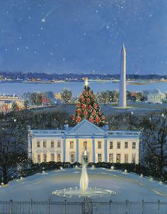 """The White House at Christmas"" painting."