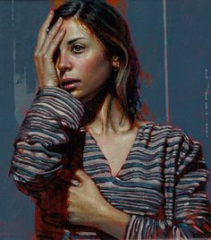 Diego Dayer, oil on canvas {contemporary figurative art female head hands woman face portrait cropped painting #loveart} diegodayer.com