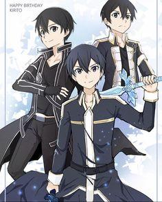 Kingdom Hearts Anime, Happy Birthday Black, Kirito Sao, Gravity Falls Funny, Sword Art Online Wallpaper, Fanart, Chica Anime Manga, Anime Boys, Sword Art Online Kirito