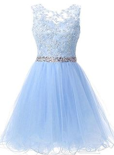 A Line Tulle Homecoming Dress,Light Blue Appliques Prom Gown,Short Prom Dress sold by fashiondressee. Shop more products from fashiondressee on Storenvy, the home of independent small businesses all over the world. Dama Dresses, Quince Dresses, Prom Dresses Blue, Dresses For Teens, Trendy Dresses, Formal Dresses, Prom Gowns, Quinceanera Dresses Short, Lila Outfits