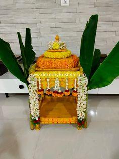 Mandir Decoration, Thali Decoration Ideas, Ganpati Decoration At Home, Diwali Decorations At Home, Ganapati Decoration, Backdrop Decorations, Festival Decorations, Flower Decorations, Janmashtami Decoration