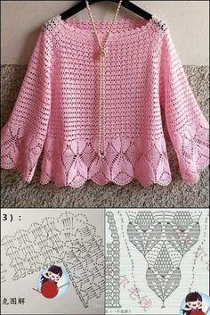 Crochet Skirt Pattern, Crochet Jacket, Crochet Diagram, Crochet Blouse, Mode Crochet, Crochet World, Knitting Patterns, Crochet Patterns, Crochet Fashion