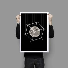 Poster Full Moon in the box Geometric Art Print Black and White on Etsy, $40.00