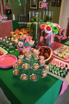 First birthday food buffet #pink #green The Obsessive Crafter: Party Planning: Isabel's First Birthday