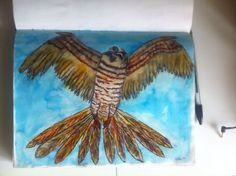 Roof vogel - pen en ecoline