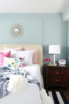 Wall paint color is Behr Frozen Pond. Stunning light blue with gray undertones. I Heart Organizing