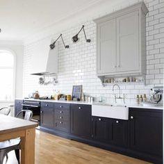 "Dark Base ""Smoot"" Cabinets minimal lighter grey uppers, large white subway tiles, light subway tile - Swedish Kitchen - Dalby sotgrå / rökgrå | Tradition | Produkter | Kvänum"
