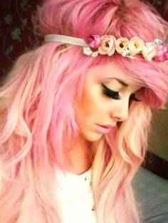 Lovely pink hair adorned with matching headband. cotton candy blonde pastel pale