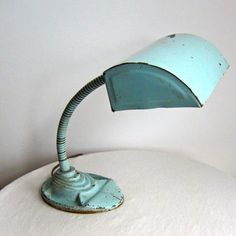 Vintage Aqua Painted Industrial Fortune Goose Neck Lamp