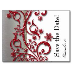Fancy Silver Red Glitter Save the Date Post Cards