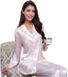 Womens Silk Satin Pajamas Set Sleepwear Loungewear PalePink XS at Amazon  Women s Clothing store  Satin 1a68d7130