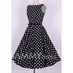 $37.05 Vintage Scoop Neck Pleated Polka Dot Sleeveless Women's Country Black Dress